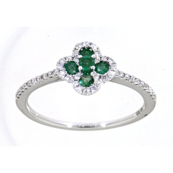 Emerald Diamond Floral Ring Jewelry Jewelry - Emerald Diamond Floral Ring Jewelry 14K White Gold